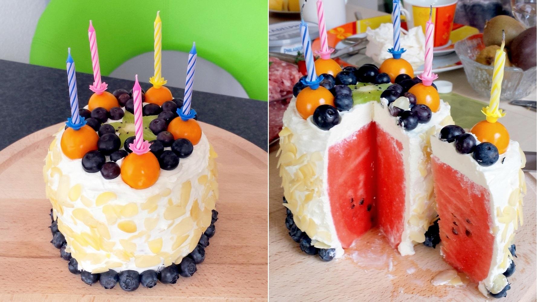 Wassermelonen-Torte mit Quark